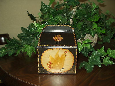 Vintage Toleware Tole Hand Painted Metal Box