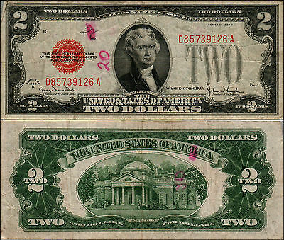 1928g $2 DOLLAR BILL OLD US NOTE LEGAL TENDER PAPER MONEY CURRENCY RED SL Y464