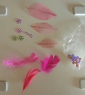 Pink feathers, leaves, pink, purple & green jewels flower sequins