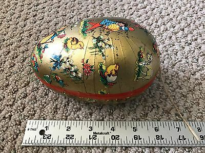 Vintage German Paper Mache Candy Container Lithograph Egg With Vintage Grass