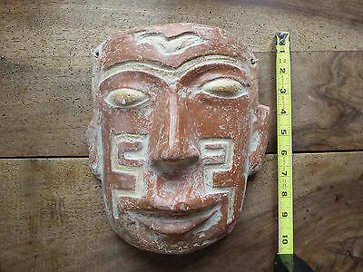 VINTAGE MAYAN AZTEC Mask Wall Hanging Terra Cotta Clay Collectible Tribal