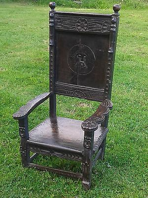 Antique rustic carved druid high-back childs chair