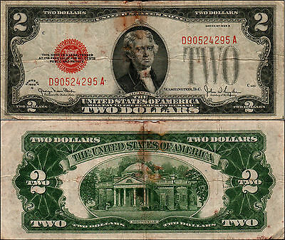 1928g $2 DOLLAR BILL OLD US NOTE LEGAL TENDER PAPER MONEY CURRENCY RED SL Y467