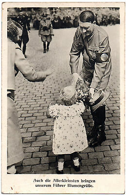 1941 Ww2 Rp Postcard Adolph Hitler Receives Flowers From German Children