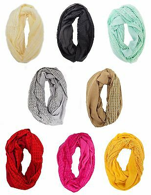 Infinity Circle Lace Scarf Eternity Loop Style Fashion Women