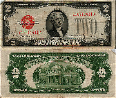 1928g $2 DOLLAR BILL OLD US NOTE LEGAL TENDER PAPER MONEY CURRENCY RED SL Y470