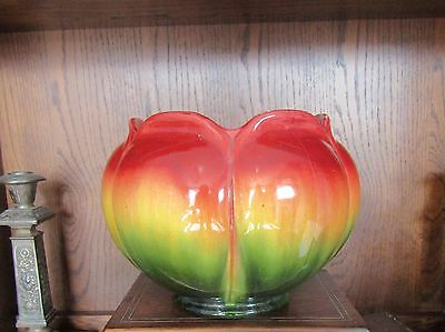 Superb BRETBY Art Pottery Large Jardiniere Planter Vase Art Nouveau Red Green