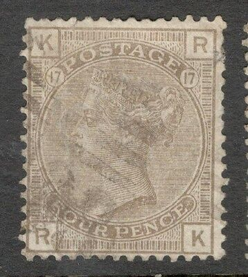 Queen Victoria - SG 160 - 4d Brown  - Plate 17 - Used £50.00