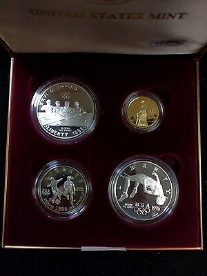 1996 Us Mint Centennial Olympic Games Gold & Silver Commemorative 4 Coin Set