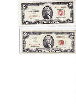 1953 & 1963 $2 Red Seal Note Lot of 2 in our best new currency protectors
