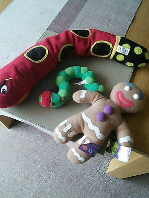 Sammy Snake, Hungry Caterpillar, Gingerbread Man soft toys