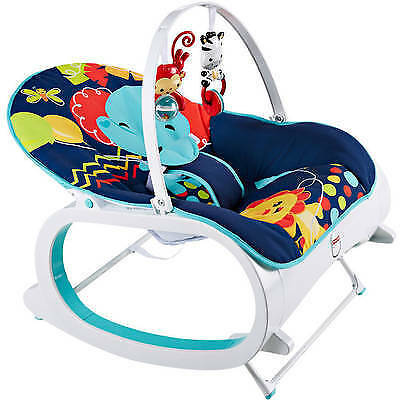 Fisher Price Infant To Baby Seat Bouncer Toddler Rocker Chair Sleeper Toy Blue