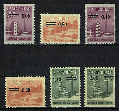 Albania 1965 _ Industrial Buildings Stamps of 1963 Surcharged _ Full set - MNH**