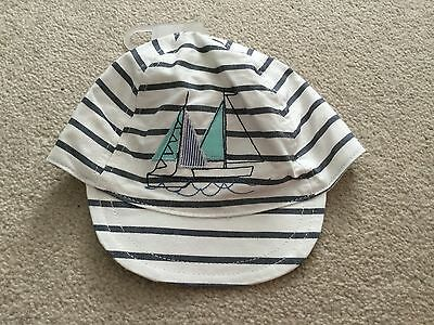 Baby boys Next soft summer cap hat with stripes & boats ! 0 - 3 months NWT