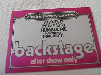 AC DC -special guest Humble Pie backstage pass after show Spectrum PHL 7/31/1980