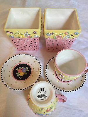 Lot Of 6 Mary Engelbreit Meadow Cup Saucer Planter Pot Flowers Dots Michel 1999