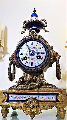 Antique French Gilt and Serves Porcelain Panel Mantel Clock with Enamel Dial.