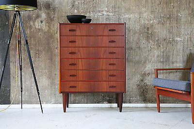60er TEAK HIGHBOARD KOMMODE DANISH 60s CABINET CHEST OF DRAWERS MID CENTURY
