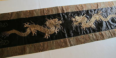 "Antique 19th Century Chinese Embroidered Metallic Thread Flying Dragons 66"" long"
