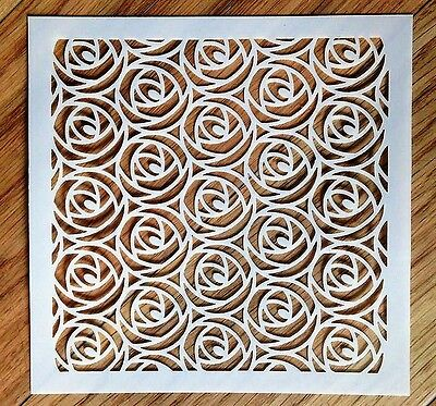 Rose Romance Flower Stencil 190micron Mylar Reusable 6 x 6 Background Texture