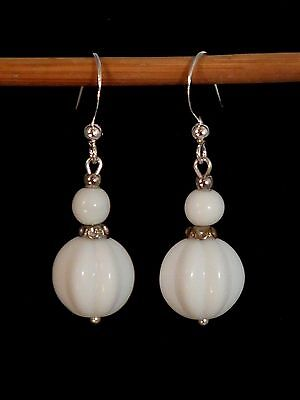 Vintage white melon milk glass bead earrings - to match 1940s necklaces