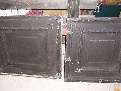"Antique Ceiling Tin Tiles  24"" X 24"" - Matching PAIR"