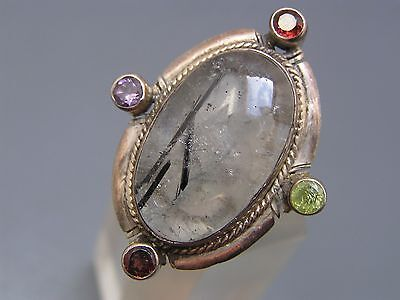 MASSIVE Sterling Silver Tourmalated quartz Gemstones Statement Cocktail Ring