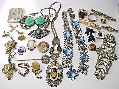 Antique Victorian Lot WEAR REPAIR Glass Necklace Gold Filled Pins Brooch Rings
