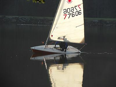 Laser 1 sailing dinghy with lunch trolley