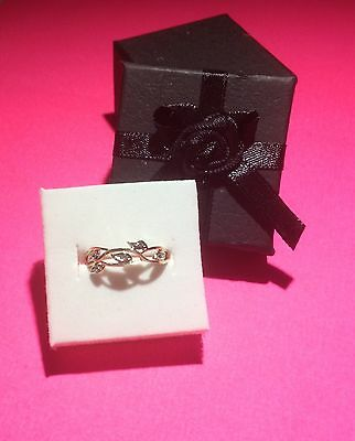 FLORAL 9CT GOLD DIAMOND RING genuine solid white yellow 375