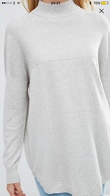 Asos Oatmeal Tunic Jumper With Cashmere Mix Size 10