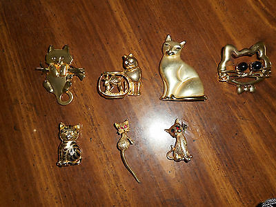 Vintage Lot Of - 6 - Goldtone Kitty Pins, Brooch