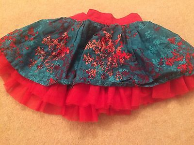 Girls Baby 6-9 Months Skirt Floral Tutu Red Teal
