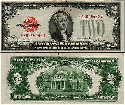 1928G $2 Dollar Bill Old Us Note Legal Tender Paper Money Currency Red Seal Y524