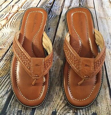 Tommy Bahama Anchors Away Brown Leather Flip Flip Thong Sandals Men's Size 11