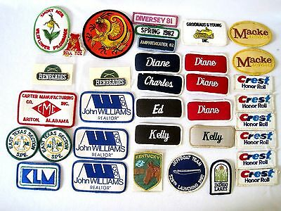Mixed Lot 35 Vintage Embroidered Iron Advertising Patches Name Badges