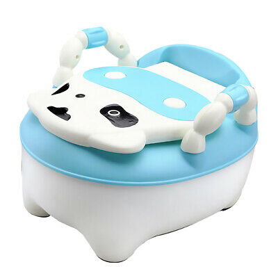 Easy Clean Kids Toddler Potty Training Chair Seat Removable Potty Lid Blue