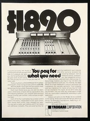 1973 Vintage Print Ad 1970s TASCAM Mixing Console Music Equipment