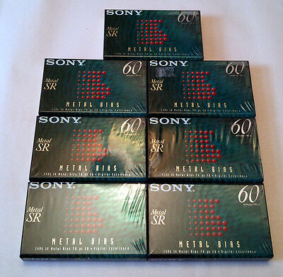 Lot of 7 Sony Metal SR 60 Type IV Cassettes Tapes New Sealed Made in Italy