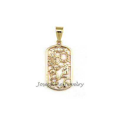 14k Gold Plated Good Luck Lucky Charm Rectangle Pendant with Rhinestone