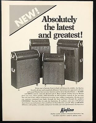 1973 Vintage Print Ad 1970s KASINO ELECTRONICS Amplifier Music