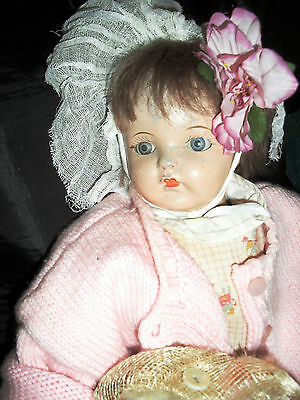 idea compo antique very old doll/free postage & insurance