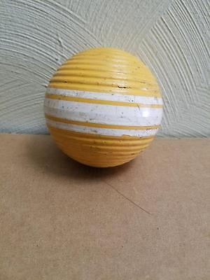 """Vintage Yellow 10.5"""" Rare Wide Triple Stripe Ribbed Croquet Ball"""