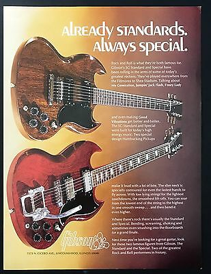 1973 Vintage Print Ad 1970s GIBSON Guitars Electric Instruments Image
