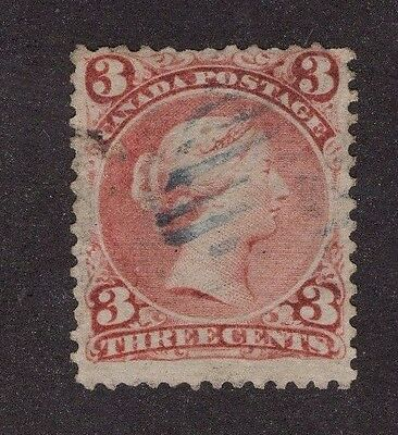 Canada used #25 3c  red   LARGE QUEEN ISSUE 1868 F