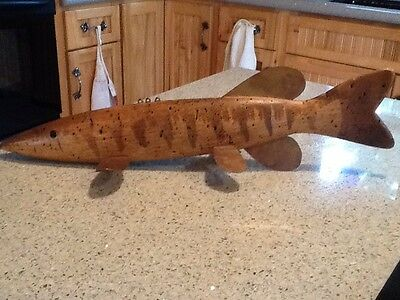 "Mark Greenig 17.5"" Hand Carved Worm Wood Ice Fish Spearing Decoy"