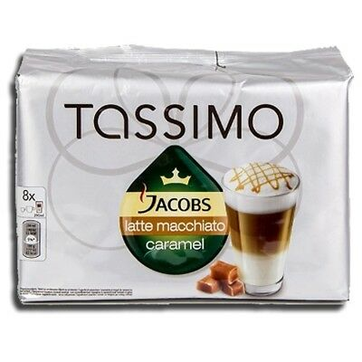 Factory Sealed Pack Tassimo T-Disc Pods Jacobs Caramel Latte Macchiato Coffee -