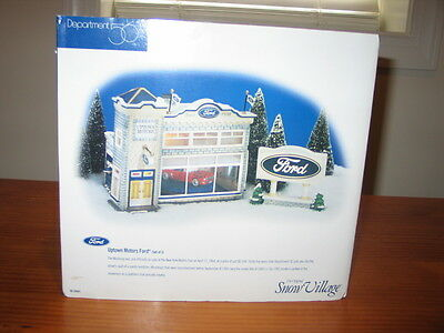 """Department 56 Snow Village Lot """"Uptown Motors Ford"""" and Three Ford Cars in Boxes"""