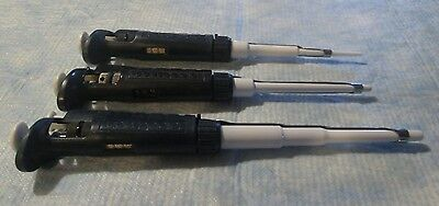 DISCOUNTED Gilson Pipetman Set Micropipette P20, P200 + P1000 CALIBRATED Lot J
