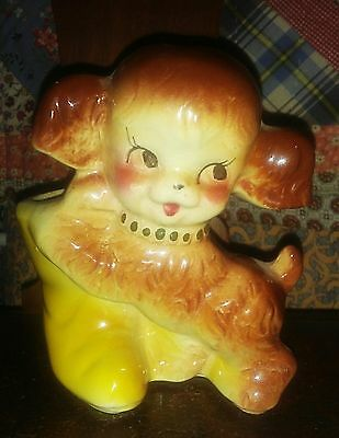 Vintage American Bisque Puppy Dog Playing w/ Boots Planter Vase USA Art Pottery